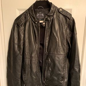 Mens Express faux leather biker jacket